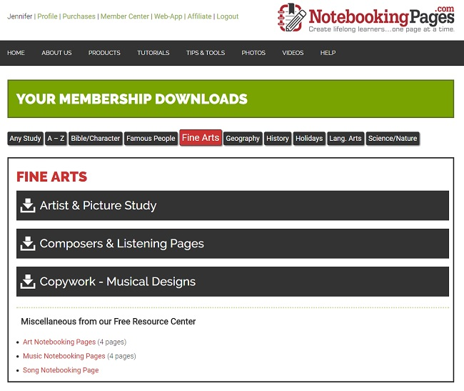 NotebookingPages.com Downloads Available