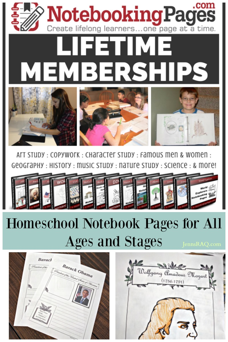 NotebookingPages.com Lifetime Memberships are perfect for homeschool families in all ages and stages