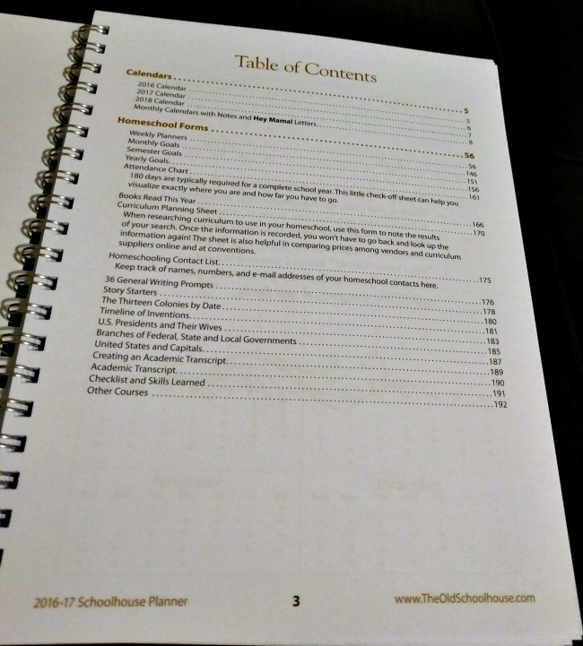 Table of Contents of the Hey Mama! Print Schoolhouse Planner 2016-2017