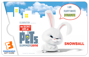 The Secret Life of Pets Fandango Gift Card Snowball