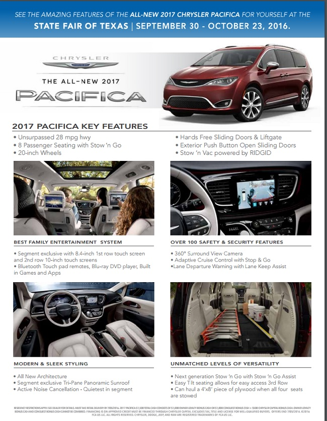 Try the All New 2017 Chrysler Pacifica at the STATE FAIR OF TEXAS
