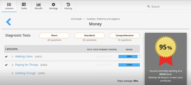 Third Grade Screenshot of CTC Math Money