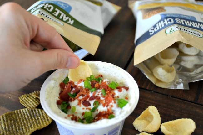Loaded Bacon Ranch Dip Using Greek Yogurt are delicious with Simply7 Chips
