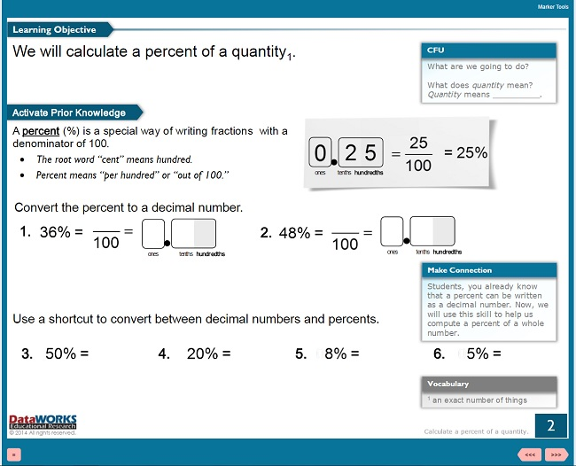 Educeri Math Lesson for 6th Grade Calculating Percent of a Quantity
