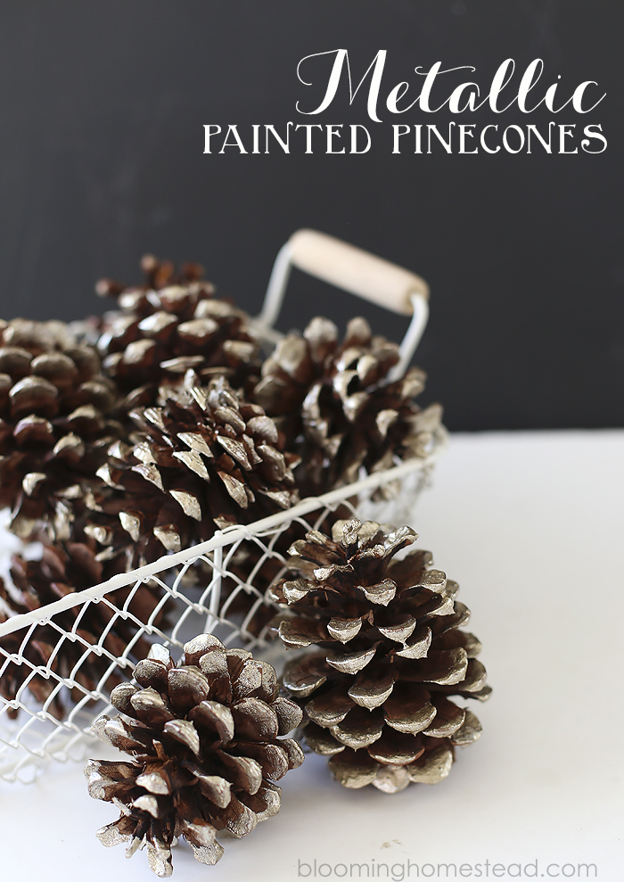 Metallic Painted Pinecones | Blooming Homestead