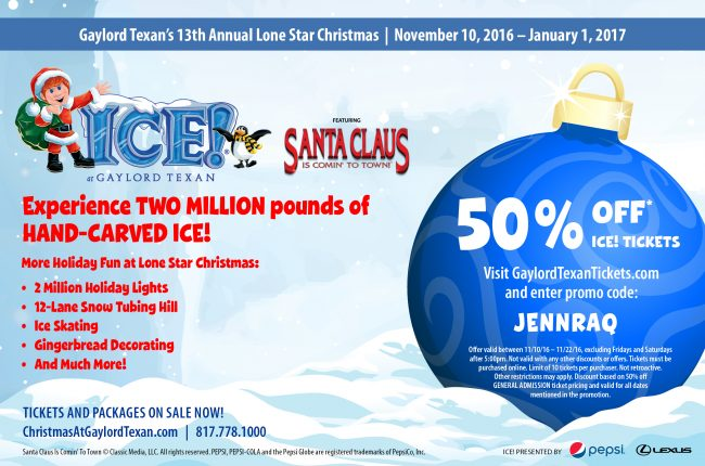 Save 50% on ICE tickets now through 11/22/16 using promo code JENNRAQ