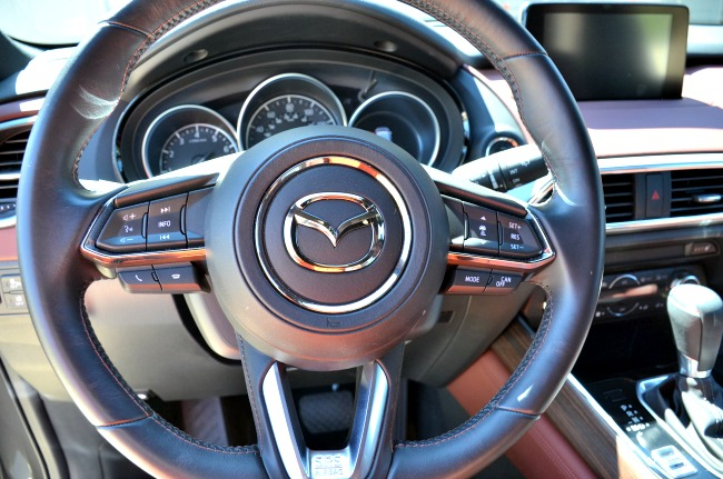 Exploring Hill Country in the 2016 Mazda CX-9 leather wrapped steering wheel
