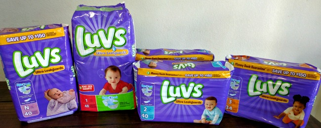 LUVS diapers come in sizes newborn to 6
