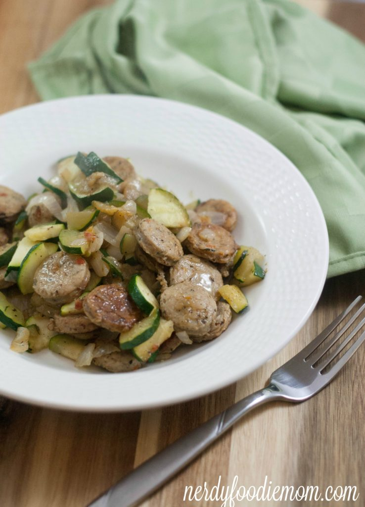 Sausage Zucchini Scramble from nerdy foodie mom