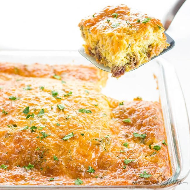 Low Carb Breakfast Casserole With Sausage & Cheese (Gluten-Free)