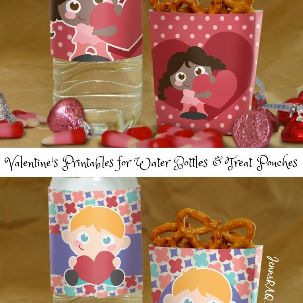 Valentine's Printables for Water Bottles & Treat Pouches
