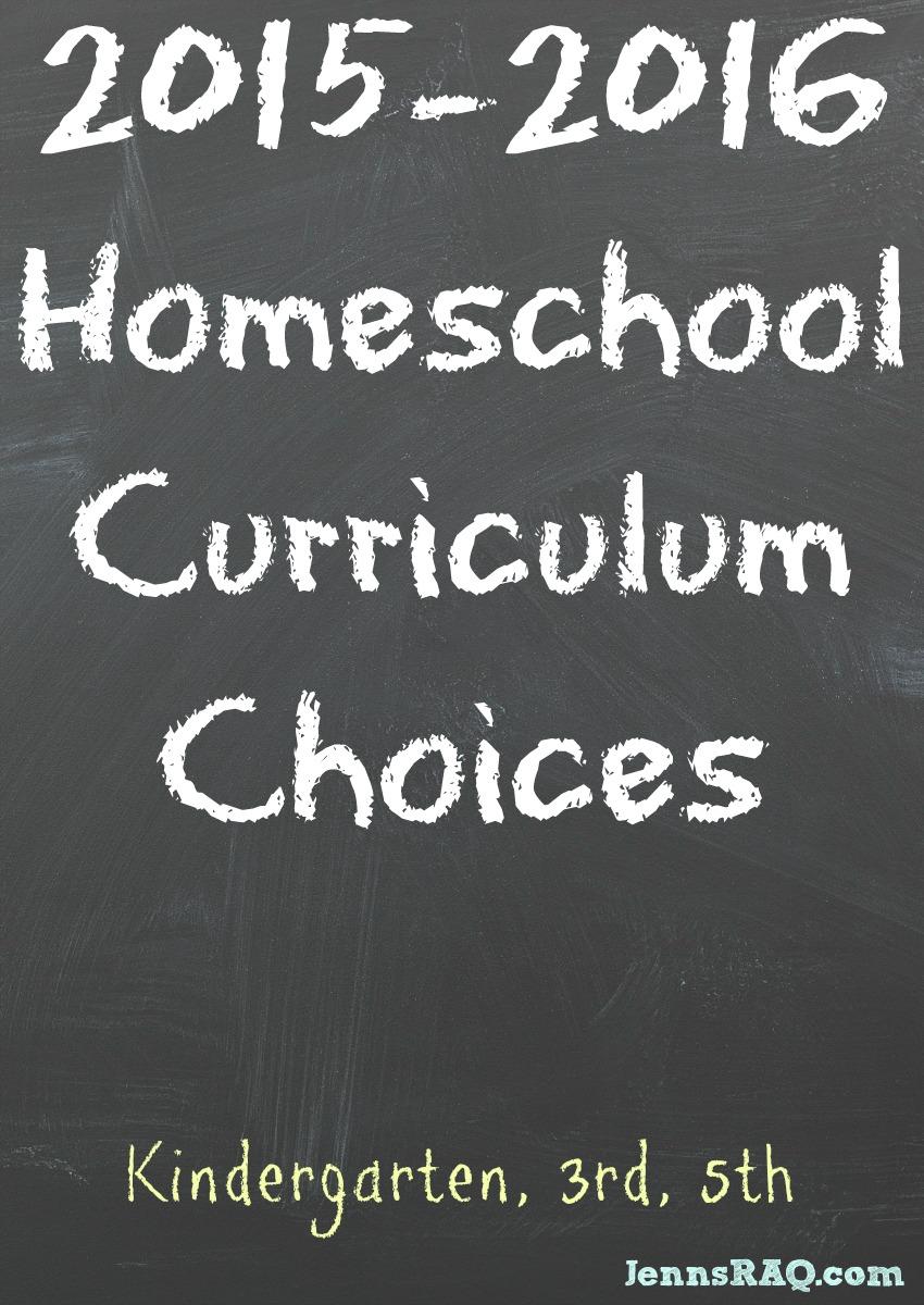 2015-2016 Homeschool Curriculum Choices from JennsRAQ.com