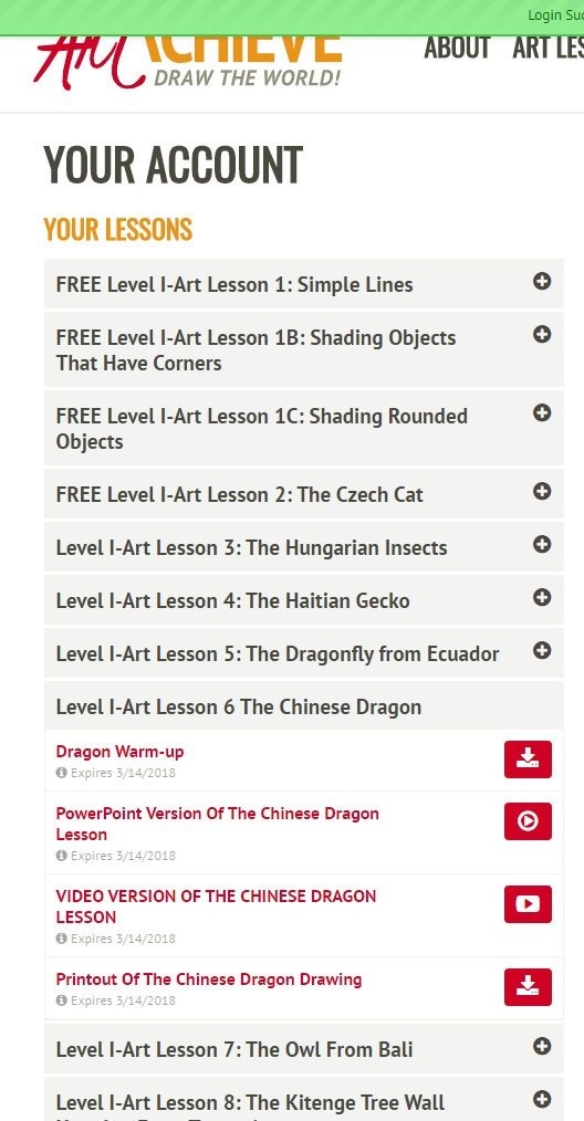 ArtAchieve Dragon Lesson Level I Account Screenshot