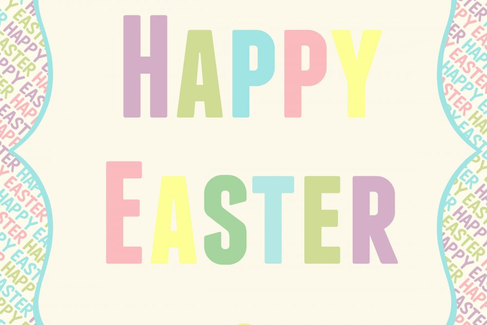 Colorful and Simple HAPPY EASTER Printable