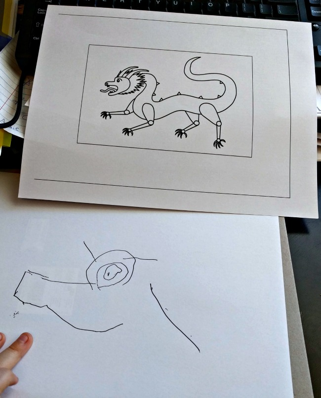 Art Achieve Level I Chinese Dragon Lesson with my five year old