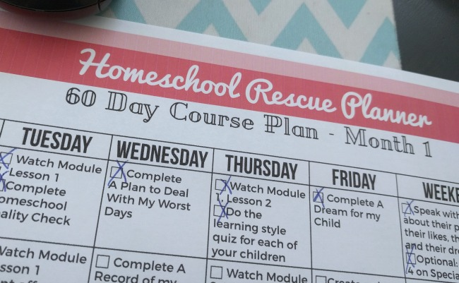 Homeschool Rescue Planner 60 Day Course Plan
