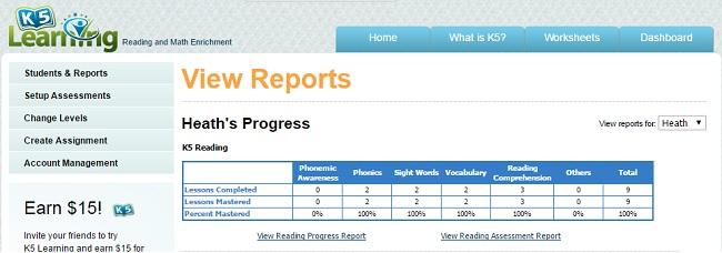K5 Learning Student Progress Report