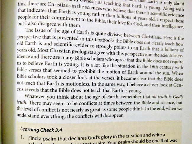 Novare Science & Math Earth Science Textbook excerpt explaining its Old Earth perspective