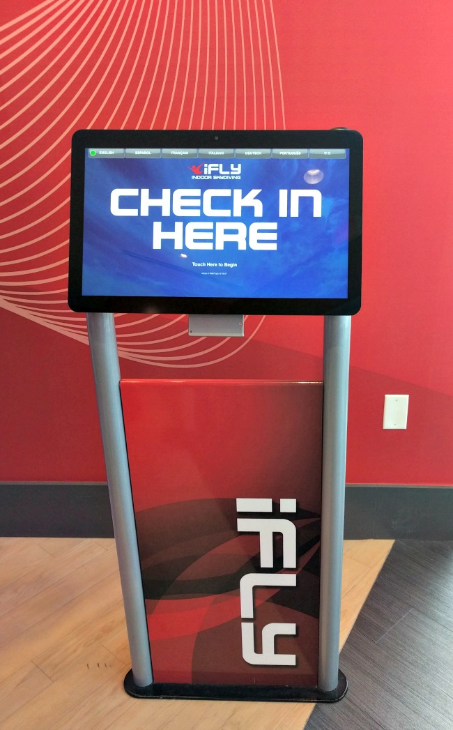 iFLY Fort Worth in Hurst Texas - Check in kiosk