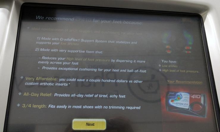 Dr. Scholl's Custom Fit Kiosk system standing assessment results Jenn