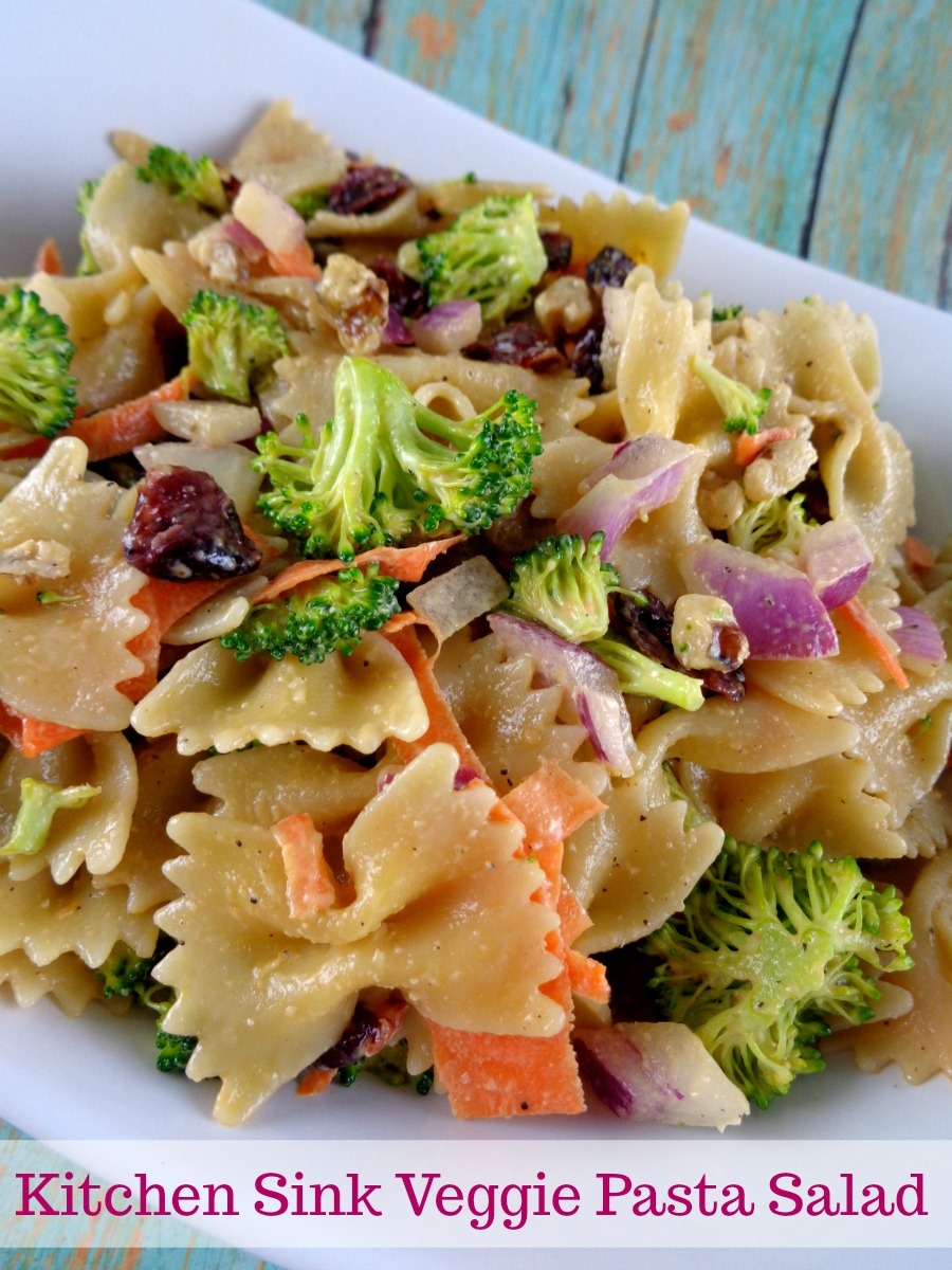 Kitchen Sink Veggie Pasta Salad is the perfect dish to bring to a pot luck or picnic!