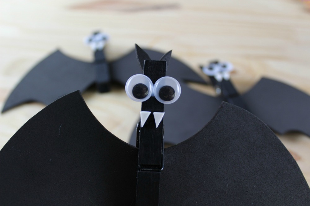 Spooky Bat Clothespin Magnets - Bat Fangs and Eyes On - as seen on RealandQuirky.com