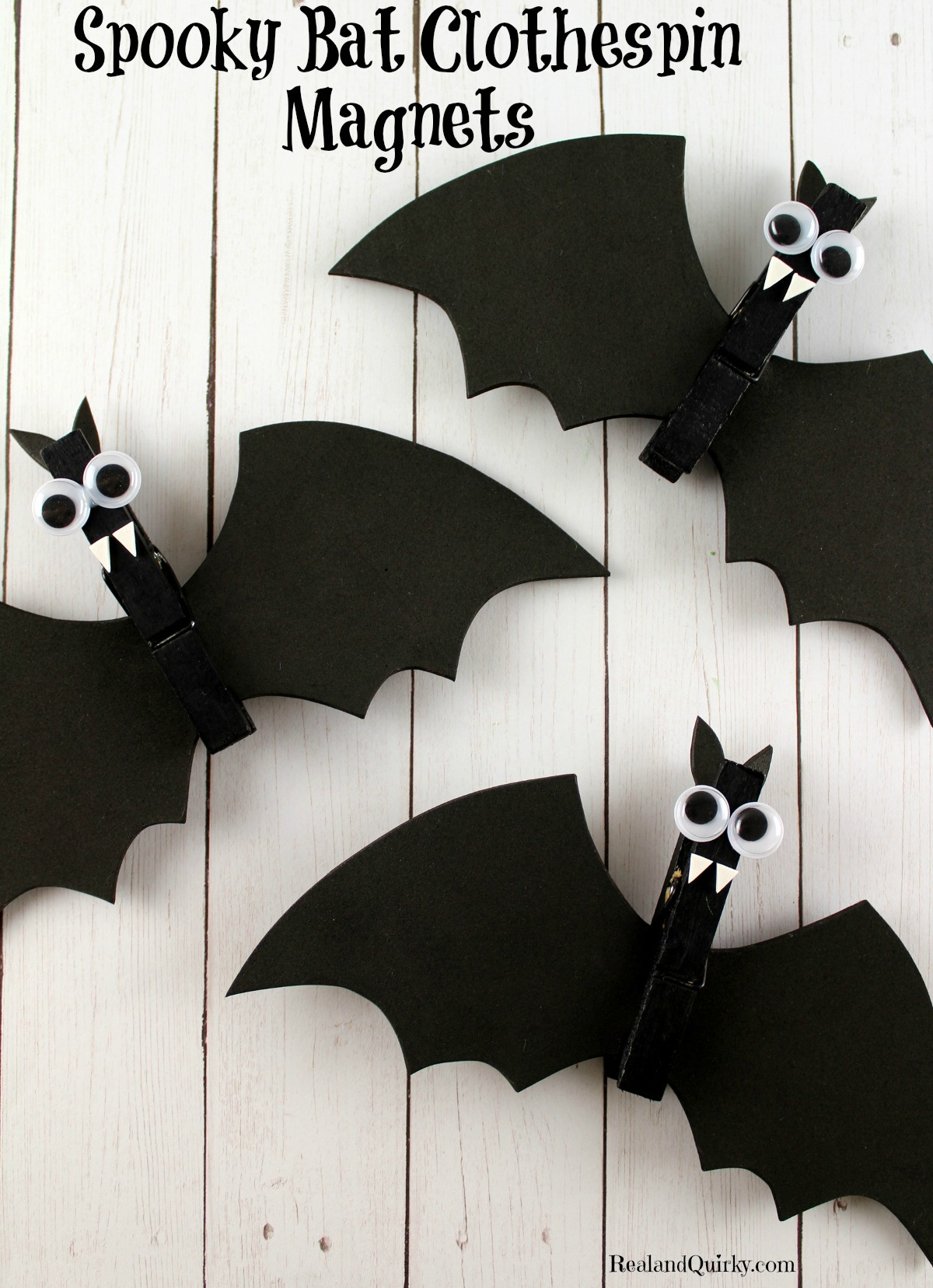 Spooky Bat Clothespin Magnets as seen on RealandQuirky.com
