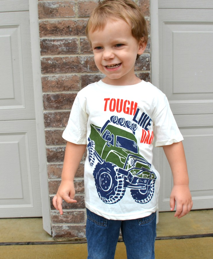 Adorable Fall Fashion for Toddlers at a Great Price - Tough Like Dad t-shirt is a great layering piece for autumn