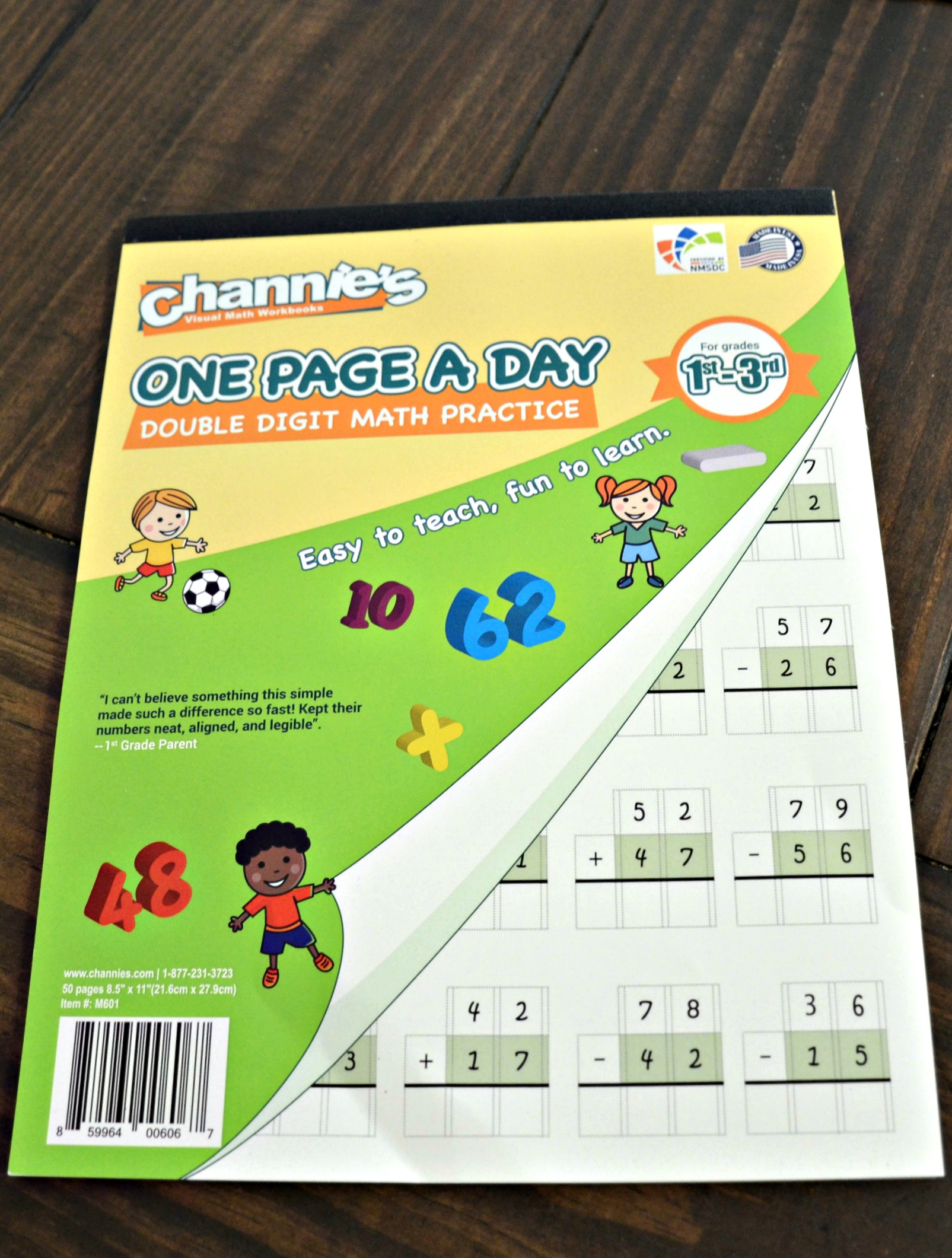 Channie's One Page a Day Double Digit Math Practice Workbook
