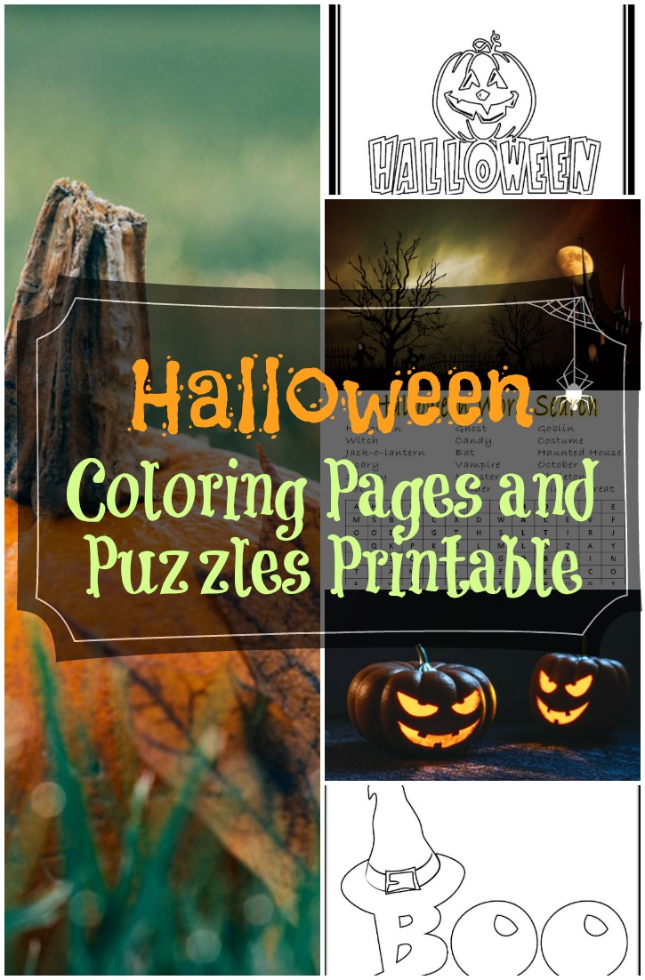 Halloween Coloring Pages and Puzzles Printable