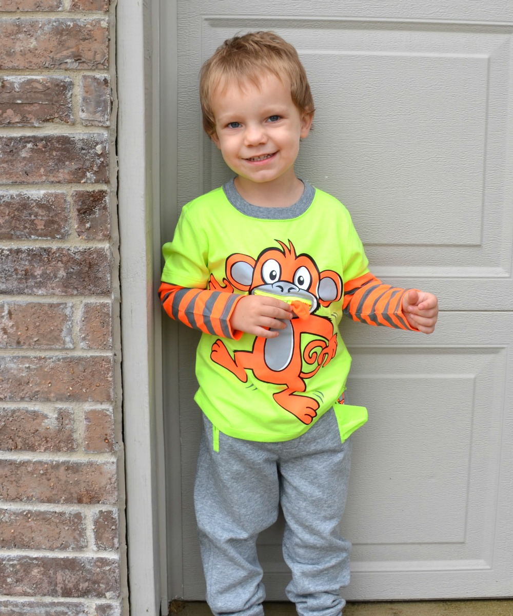 Healthtex Toddler Boy 3D Graphic T-Shirt and Jogger Pant Set - With cute zippered pockets that turn into tongues with a great neon color scheme