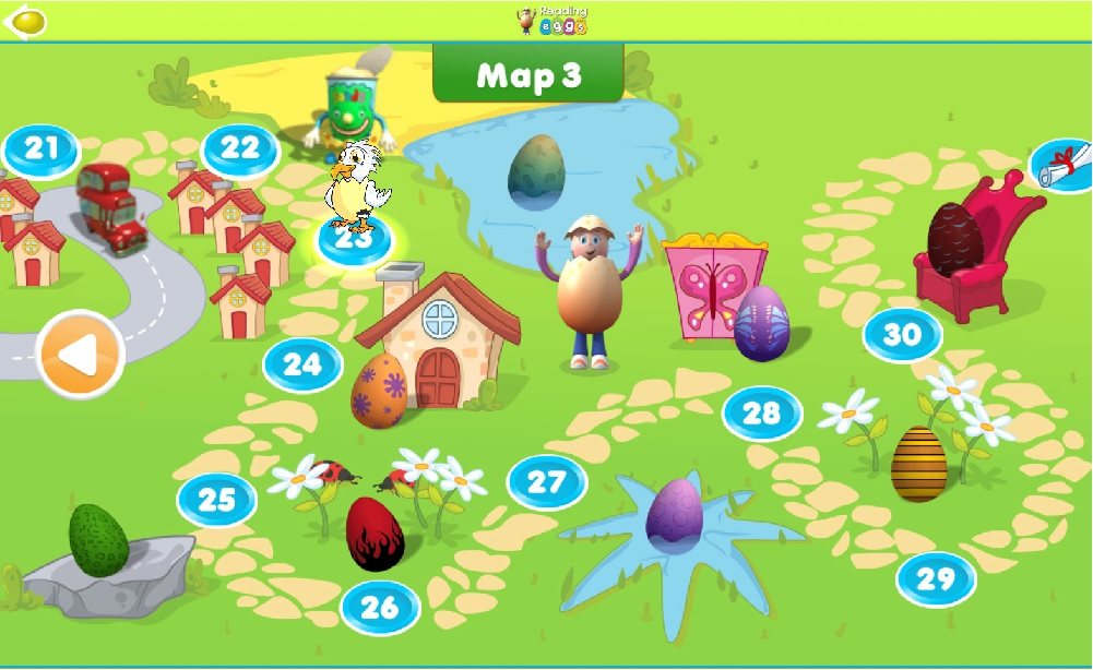 Reading Eggs Map showing lessons completed