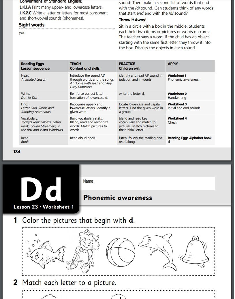 Reading Eggs free printable worksheets with lesson planning information