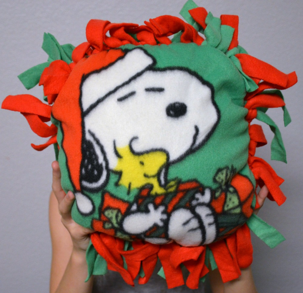 Activities to Keep Kids Busy Over Winter Break - DIY Peanut tied pillow kits complete
