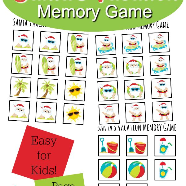 Santa's Vacation Memory Game Printable
