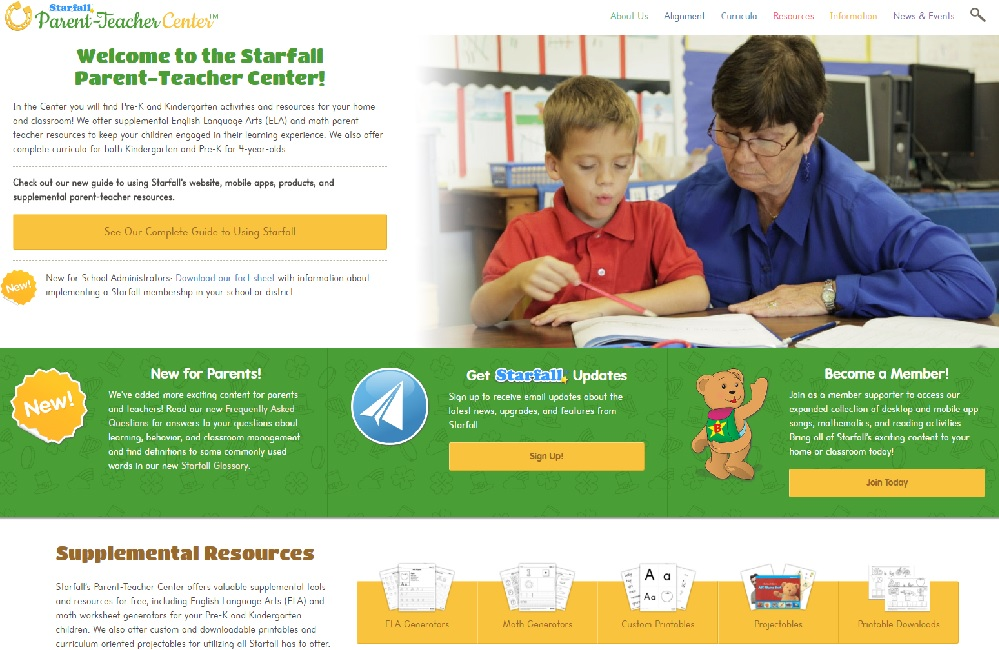 Starfall parent teacher resources