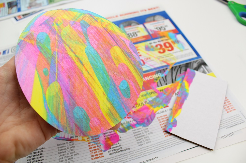 Paint Scrape Craft - Easter Eggs scraping with cardboard