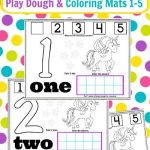 Unicorn Play Dough Mat & Coloring Page Numbers 1-5