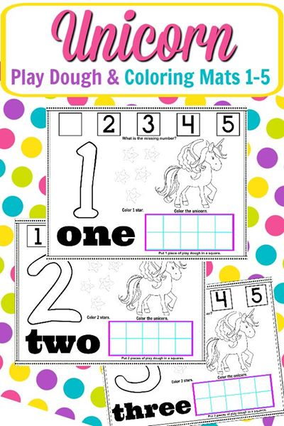 Unicorn Play Dough Mat Coloring Page Numbers 1 5