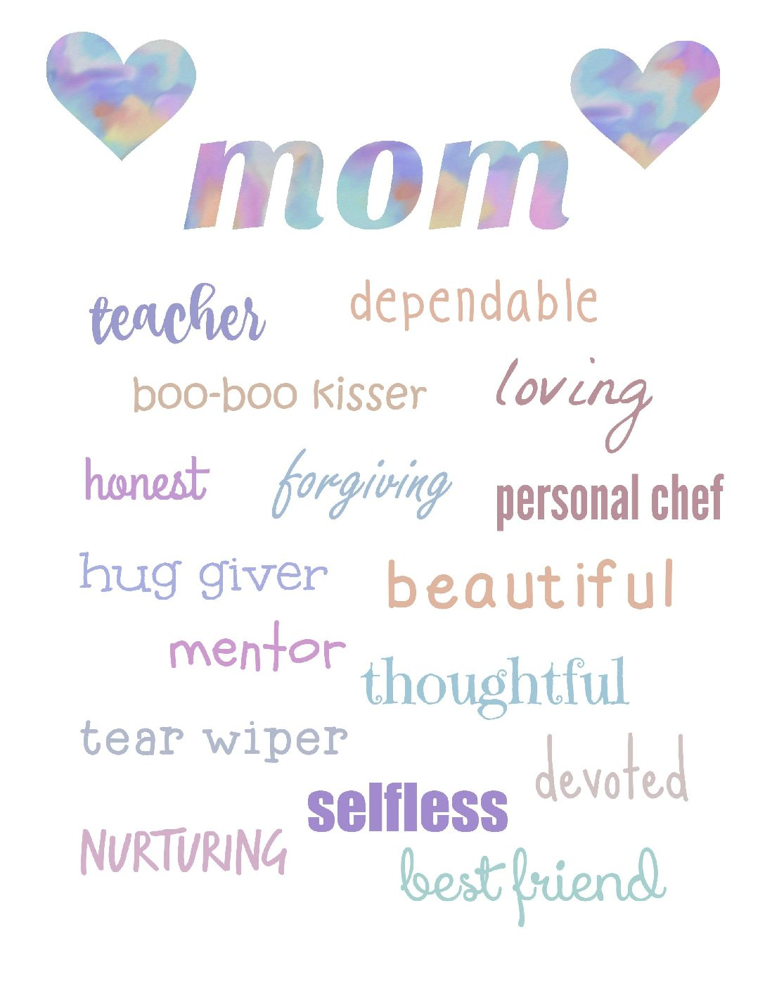 MOM Word Art- Printables Perfect for Mother's Day