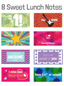 8 Sweet Lunch Notes FREE Printable