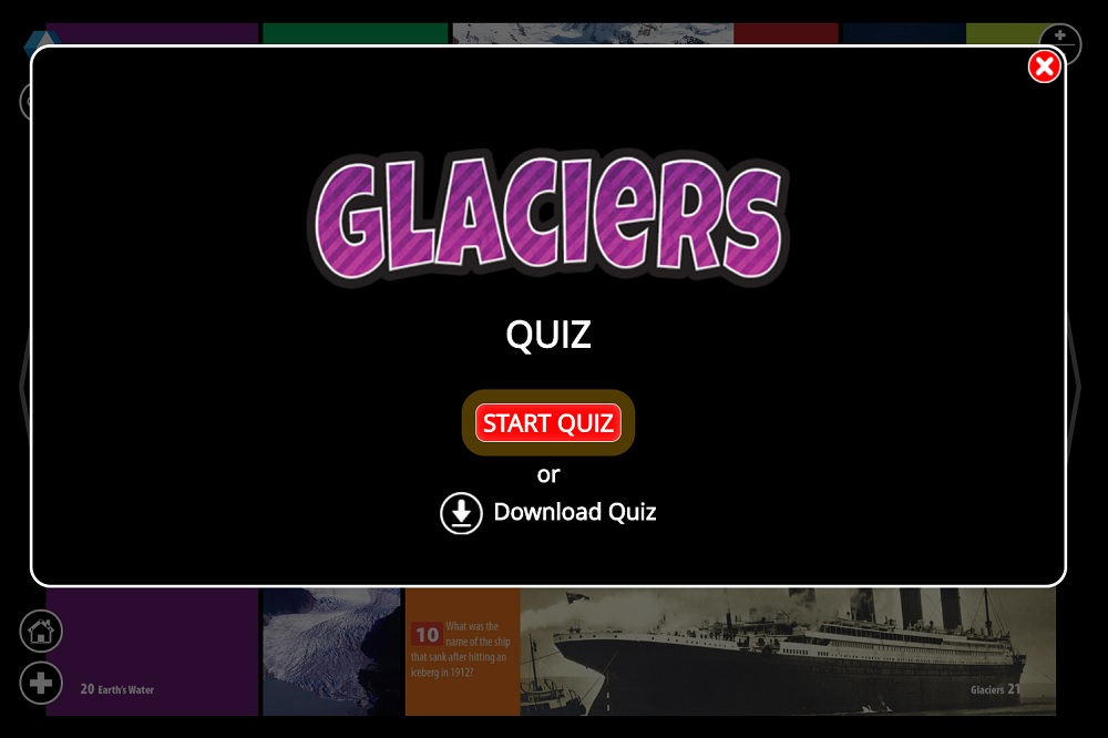 Glaciers Lightbox features from Weigl Publishers - quiz
