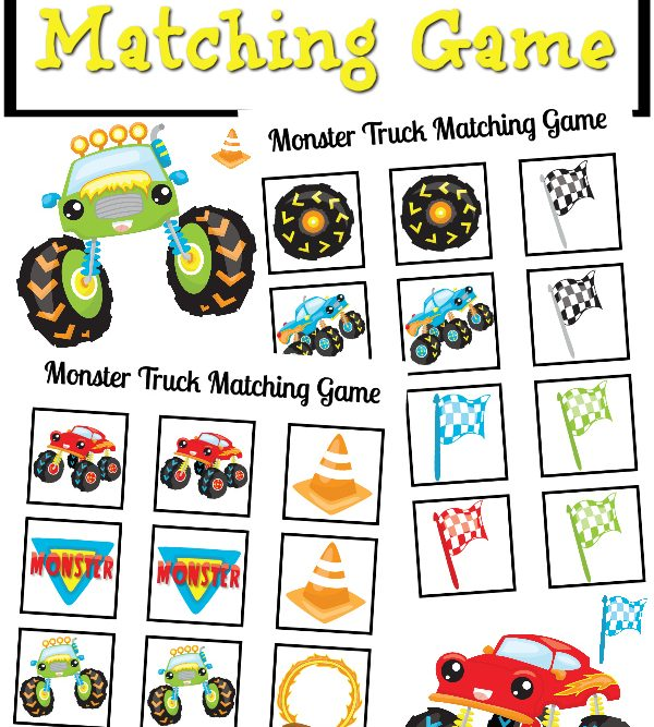 Monster Truck Matching Game Printable