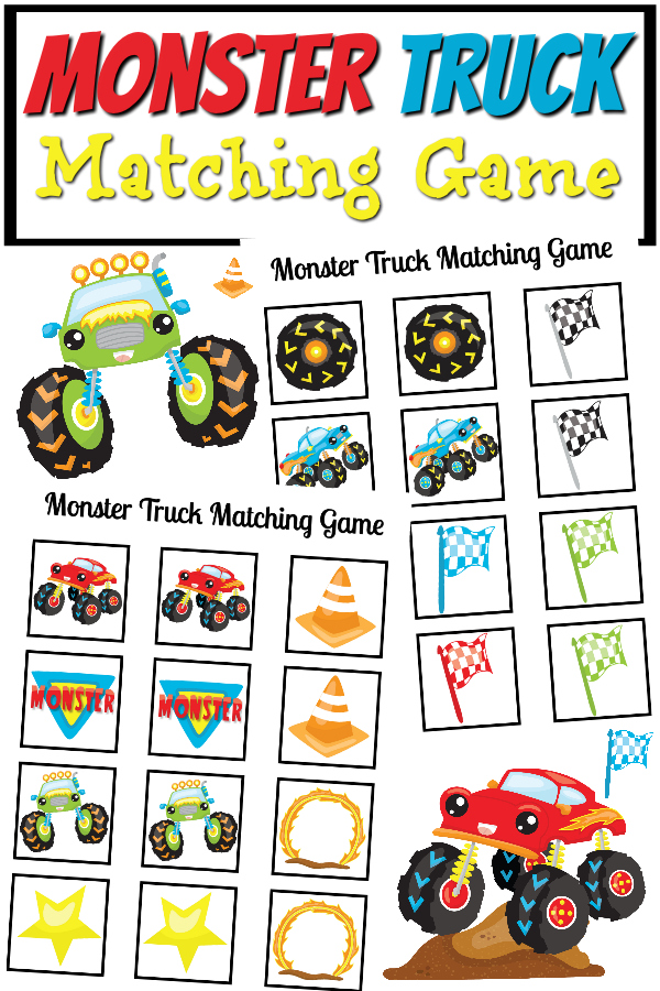 photograph relating to Monster Truck Printable named Monster Truck Matching Video game Printable - Genuine And Quirky