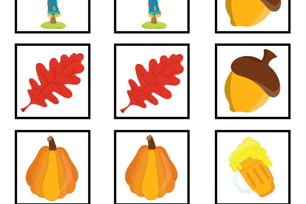 Autumn Memory Game Printable
