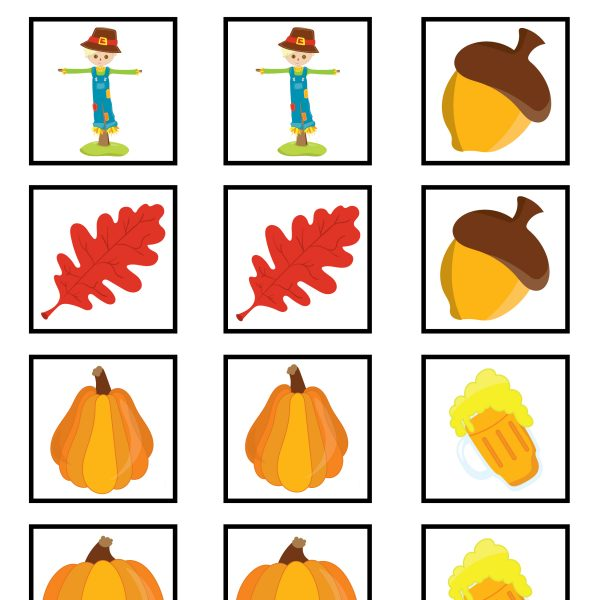 Autumn Memory Game Printable