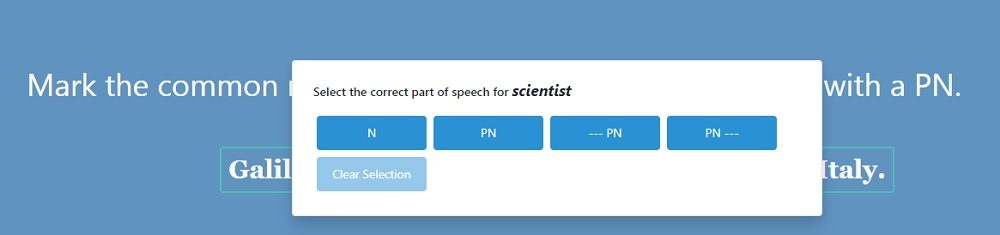 GrammarPlanet Unit 2 Example - Marking Parts of Speech