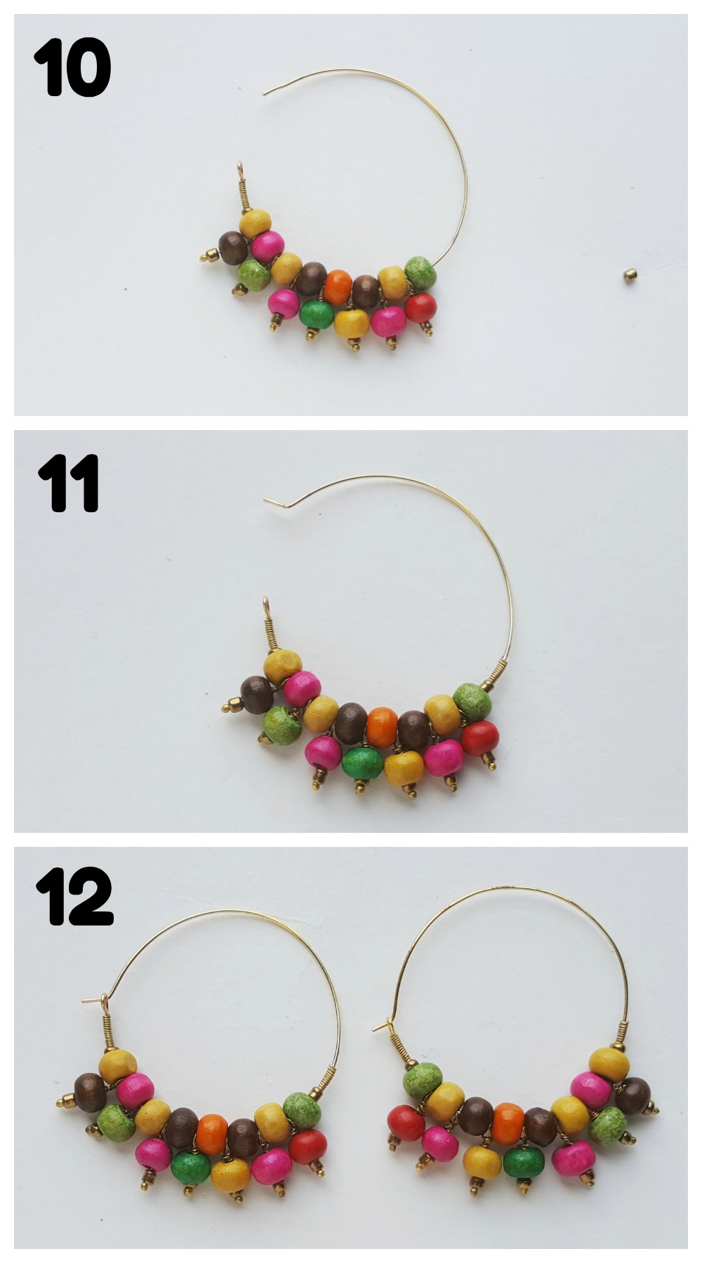 Beaded Hoop Earrings DIY Craft Steps 10-12