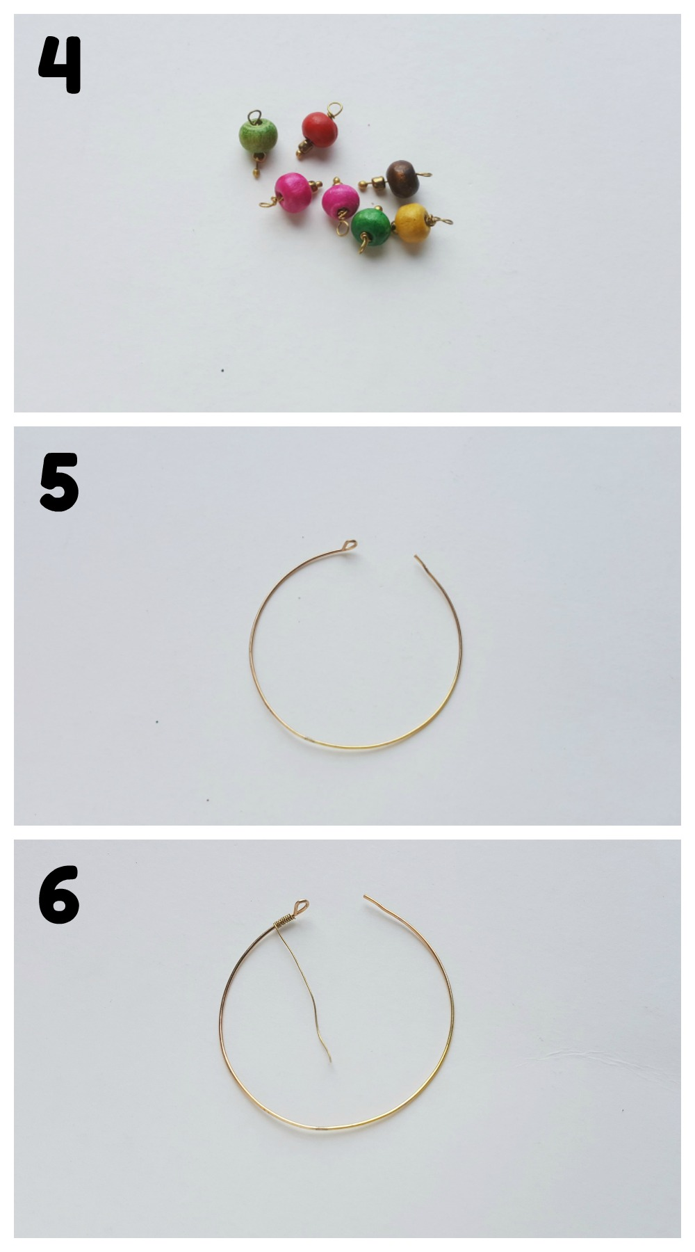 Beaded Hoop Earrings DIY Craft Steps 4-6