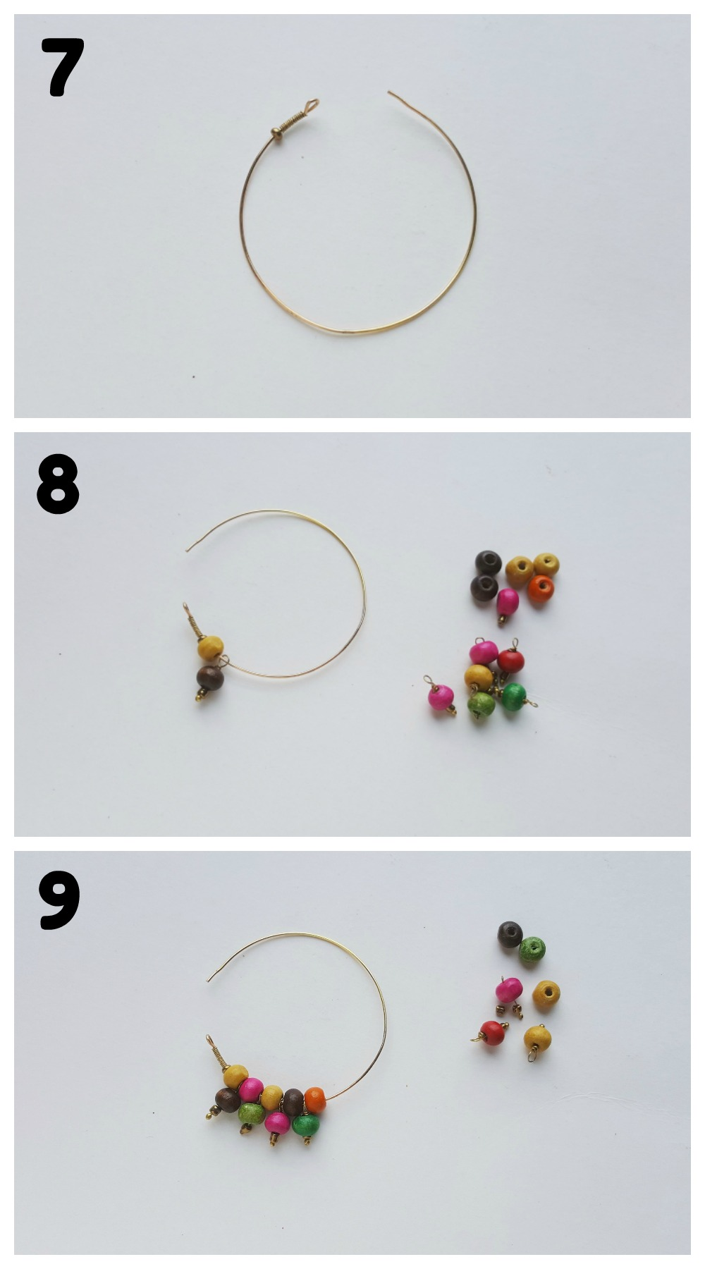 Beaded Hoop Earrings DIY Craft Steps 7-9